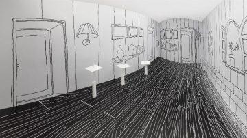 המיצב קווים שחורים דקים וריבועים רוקדים, ננדו, 2011