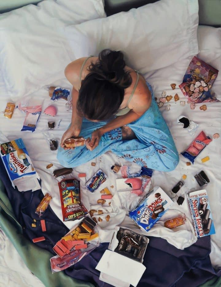 חטיפים על המיטה, ציור ריאליסטי, לי פרייס, אמנית אמריקאית