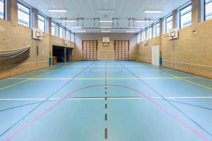 אולם כדורסל, אולם סגור, בטול מוחלק, רצפת בטון
