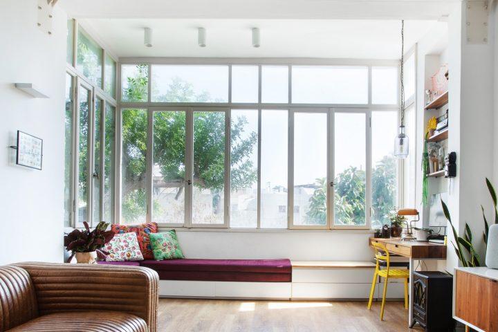 דירה תל אביבית, עיצוב דירה בתל אביבי, חלונות גדולים
