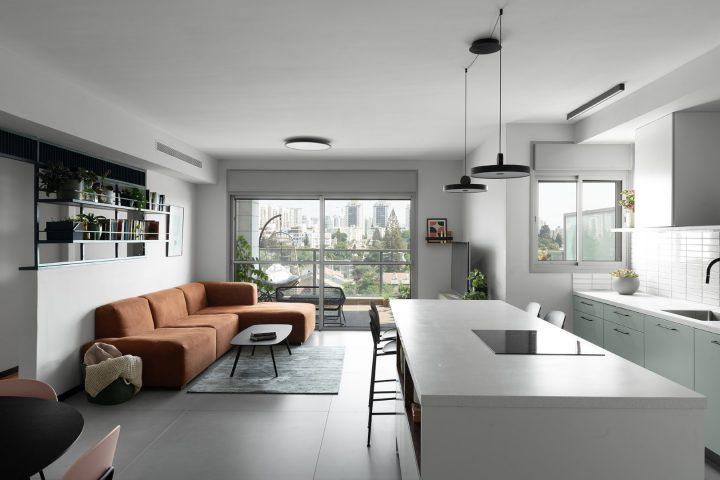 עיצוב סלון, עיצוב אי במטבח, עיצוב דירת קבלן