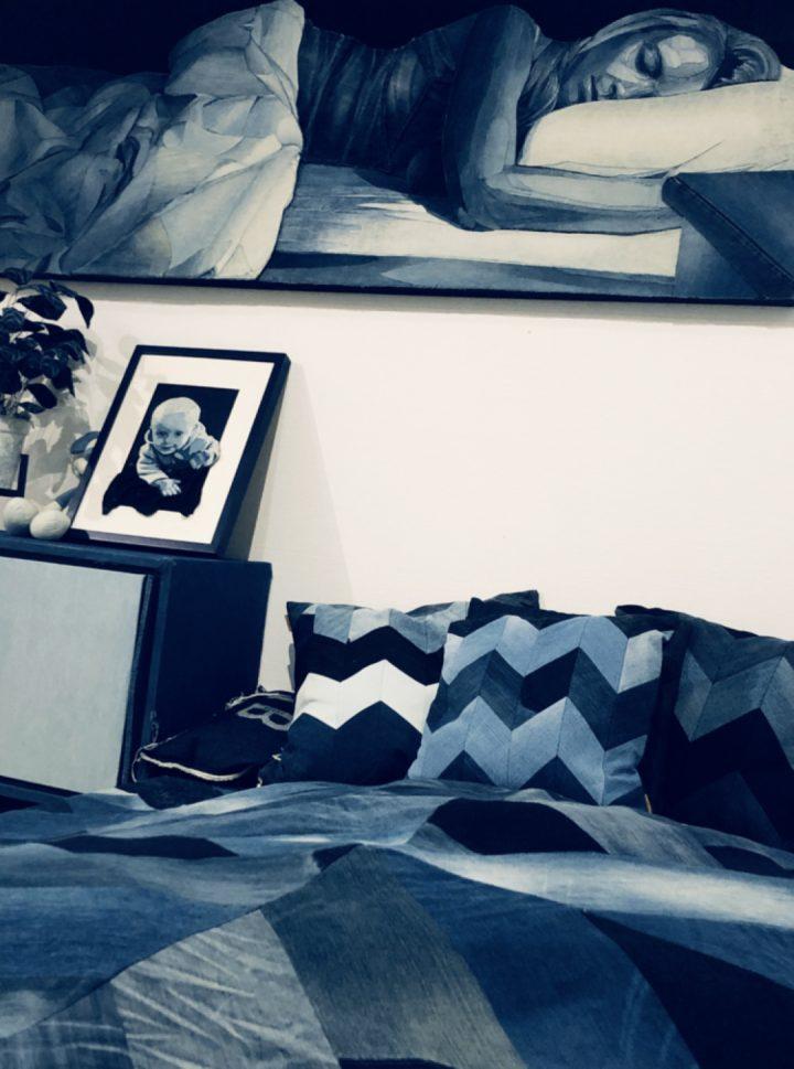 Ian+Berry+bedroom+art+in+denim+installation_