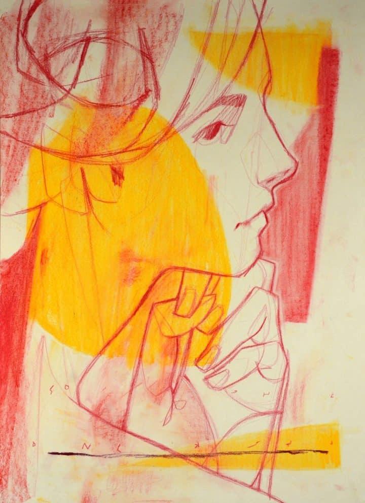 ציור של אישה, ציור באדום, שרבוטי נשים
