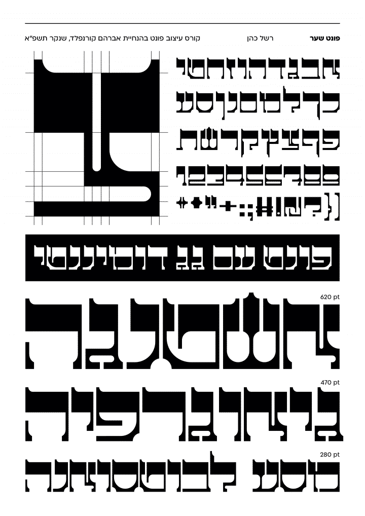 רשל כהן, איצוב פונט עברי